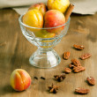 Fresh apricots with nuts - Stock Photo