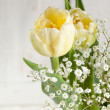 Bouquet of yellow tulips - Stock Photo