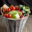Mix of vegetables in basket — Stock Photo