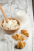 Cookies, milk and cottage cheese — Stock Photo