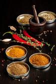 Red hot chili peppers y especias — Foto de Stock