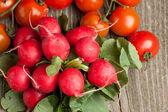 Frische radieschen und tomaten — Stockfoto