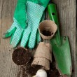Garden tools with ground — Stock Photo