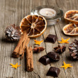 Cinnamon, anise, orange and chocolate — Stock Photo