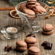 Chocolate macarons — Stock Photo