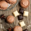 Stock Photo: Chocolate macarons