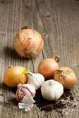 Garlics and onions on wood — Stock Photo