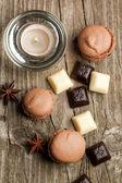 Chocolate macarons — Stock Photo