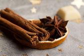 Cinnamon, anise, orange — Stock Photo