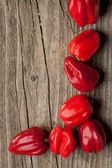 Corner of Red chili habanero peppers — Stock Photo
