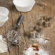 Sugar, metal whisk and cookie cutters — Stockfoto