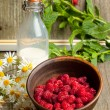 Fresh ripe raspberries and milk — Stock Photo