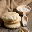 Pita bread with flour — Stock Photo