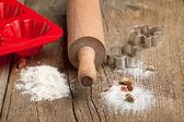 Dough, sugar and rolling-pin — Stock Photo