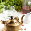 Stock Photo: Old golden teapot