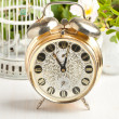 Old alarm-clock and vintage cage — Stock Photo