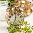 Stock Photo: Old alarm-clock and teapot with flowers