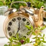 Постер, плакат: Old alarm clock and teapot with flowers