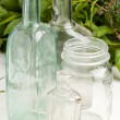 Vintage bottles and empty pot — Stock Photo