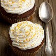 Cupcakes with whipped cream — Stock Photo #20087905