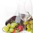 Wine and fruits isolated — Stock Photo