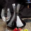 Red wine and fruits - Stock Photo