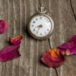 Old clock with petals of rose — Stock Photo
