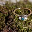 Blue diamond ring - Stock Photo