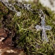 Old silver cross - Stock Photo