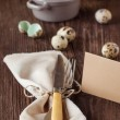 Easter table setting with quail eggs — Stock Photo #20096891