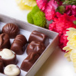 Chocolate candy and flowers over white — Stock Photo