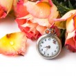 Orange roses with vintage clock — Stock Photo #20098007