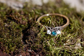 Blue diamond ring — Stockfoto