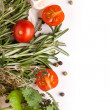 Tomatoes, garlic and herbs - Stockfoto