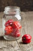 Jar with Red chili habanero peppers — Stock Photo