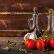 Stock Photo: Herb, oil, garlic and tomatoes