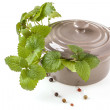 Ceramic pan with herb — Stock Photo