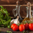 Stock Photo: Basil, garlic and tomatoes