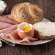 Bread, ham and egg — Stock Photo