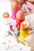 Boiled eggs, salt, bread and ham — Stock Photo
