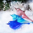Three christmas toys glass birds — Stock Photo