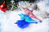 Three christmas toys glass birds — Stock fotografie