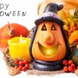 Halloween lantern and pumpkins — Stock Photo