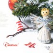 Stock Photo: Christmas card with angel