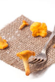 Vintage fork with mushrooms chanterelle — Stock Photo