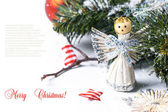 Christmas card with angel — Stock Photo