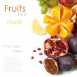 Foto de Stock  : Group of fresh fruits
