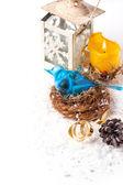 Christmas card with blue bird — Stock Photo