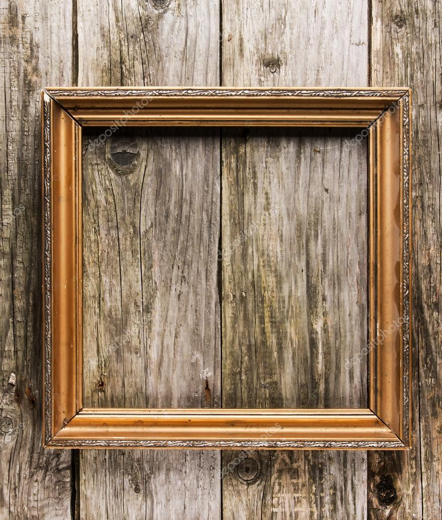 Vintage frame on old wooden background — Stock Photo ...