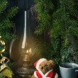 Christmas decoration with teddy bear — Stok fotoğraf